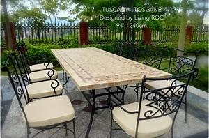 Table De Jardin Fer : table mosa que en pierre toscane de jardin en fer forg marbre rouge et travertin ~ Nature-et-papiers.com Idées de Décoration