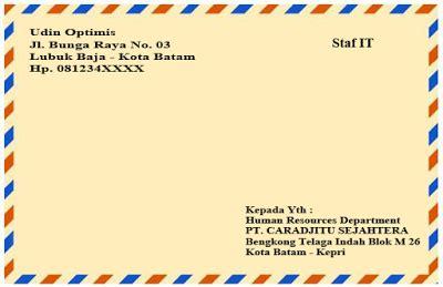 Penulisan Alamat Surat Di Lop Lamaran Kerja by Contoh Penulisan Lop Surat Lamaran Kerja Kumpulan