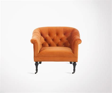 fauteuil velours orange fauteuil vintage capitonn 233 velours orange style baroque chic