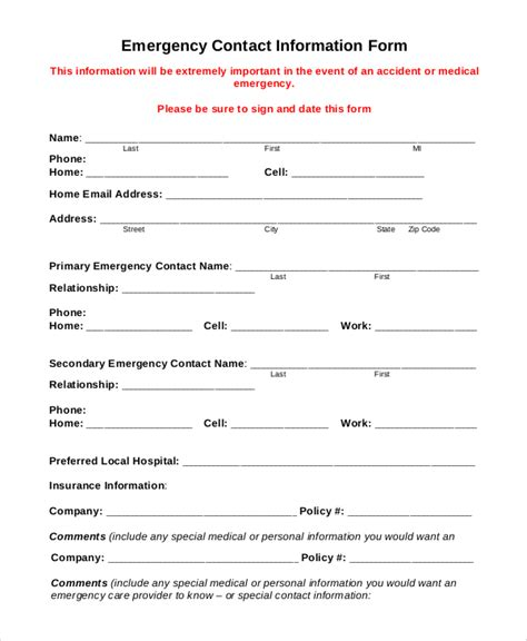 sle emergency contact form 8 exles in pdf word