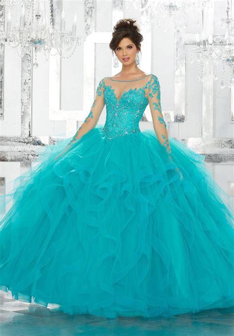 vizcaya  sheer long sleeve quinceanera ball gown