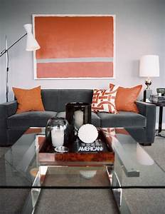 Sarah mcallister creative styling gray and orange for Grey and orange living room