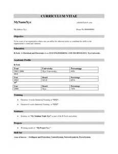 resume format information technology freshers resume format for freshers sles of resumes