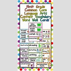 First Grade Common Core Language Arts Vocabulary Word Wall Cards Polka Dots  Words, Language