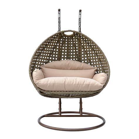 2 person wicker hanging swing garden egg chair patio