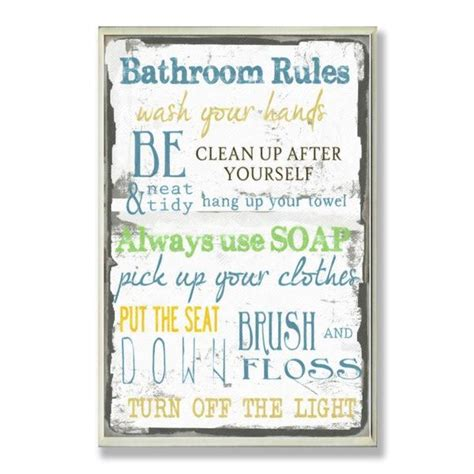 Bathroom Rules Typography Wall Plaque  Free Shipping On