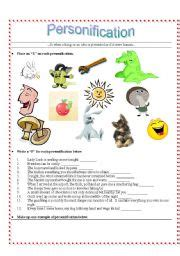 English Teaching Worksheets Personification