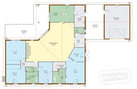 plan maison en l plain pied 3 chambres grande maison de plain pied dé du plan de grande