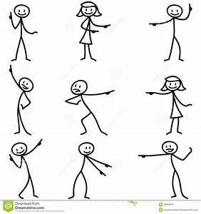 Stickman Stick Figure Pointing Showing Directions Stock