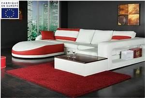 Canape d39angle design simili blanc et rouge angle gauche for Tapis design avec canapé mousse haute résilience