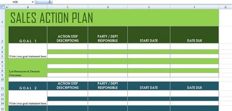 sales action plan template xls excel project