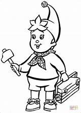 Coloring Hammer Tools Noddy Pages Brings Printable Goes Supercoloring Drawing Cartoon Hellokids sketch template
