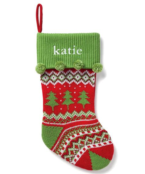 tree embroidered personalized knit stocking