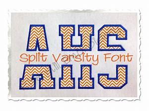 Split varsity applique machine embroidery alphabet for Varsity letter applique