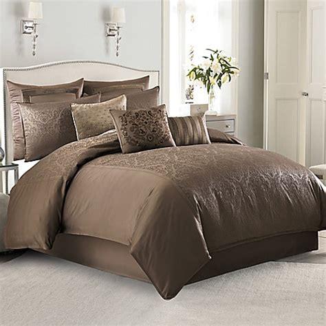 Manor Hill® Sienna Damask Comforter Set In Mocha Bed
