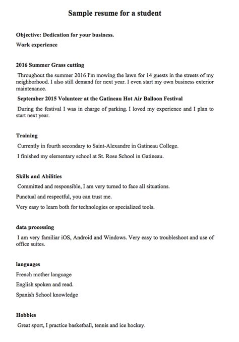cv template for year 8 student sle resume for a student or a 16 year old student