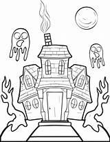 Haunted Coloring Pages Drawing Halloween Printable Houses Simple Print Colouring Getdrawings Ghost Fun Getcolorings Mpmschoolsupplies sketch template