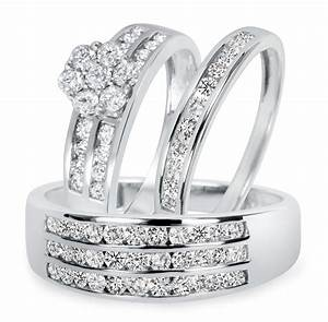 1 1 2 ct tw diamond trio matching wedding ring set 14k With matching wedding ring sets
