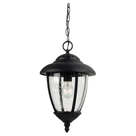 Hanging Porch Light Fixtures by Sea Gull Lighting Lambert Hill 1 Light Black Outdoor