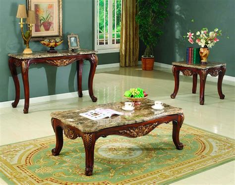 Wooden high gloss coffee tea table storage drawers with light living room uk. Traditional Occasional Cocktail Coffee Table End Table Set Marble Top Carved Wood