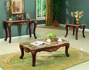 traditional occasional cocktail coffee table end table set With stone coffee table and end tables