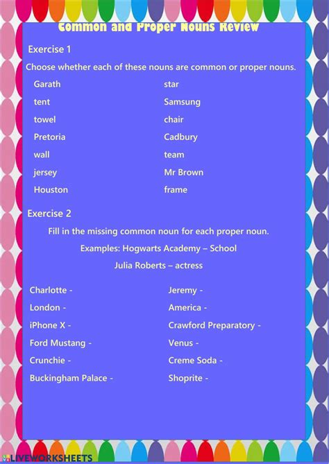 common  proper nouns interactive worksheet