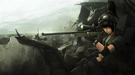 Soldier Anime Wallpaper - sniper rifle war anime hd wallpapers desktop and