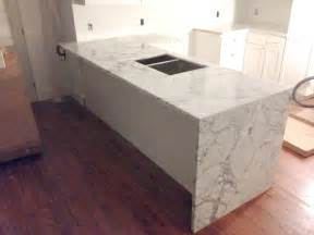 Kitchen Sink Material Types by Waterfall Counter Artistic Stone Kitchen And