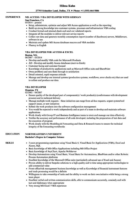 Developer Resume Exle by Vba Developer Resume Sles Velvet