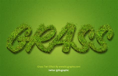 grass effect font photoshop action graphic hive