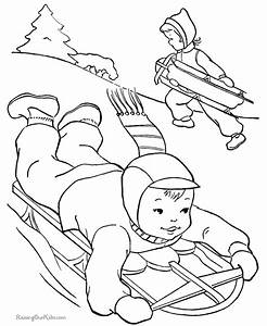 winter holiday coloring pages - winter sledding picture to color 038