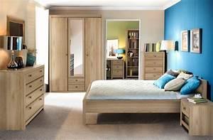 Lit indigo chambre a coucher chene clair l 170 x h 70 x p 210 for Chambre a coucher adulte avec matelas thiriez prix