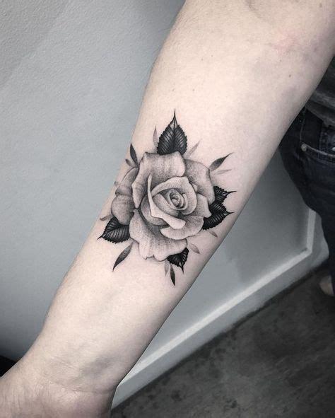 beautiful black grey rose tattoo  forearm