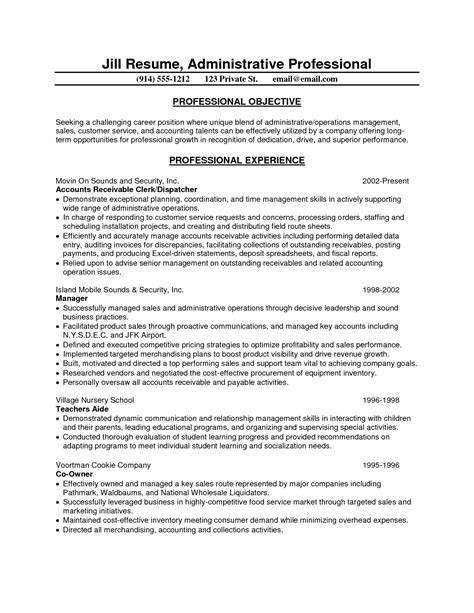 sle resume for administrative position resume for