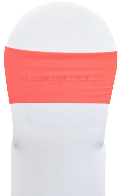 coral spandex chair band sashes lycra stretch chair bands