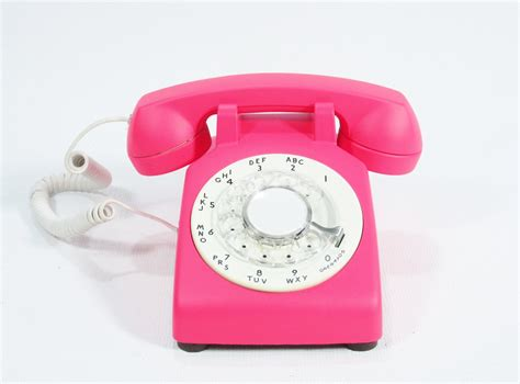 reserved for Tammy Vintage Neon Cerise Pink Phone Rotary Dial