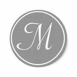 your letter custom monogram m initial grey classic round With letter m monogram stickers