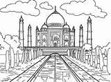 Mahal Taj Coloring Dibujo Sheet Dibujos Dibujar Mundo Sheets Colorear Template Dibujoscolorear Kleurplaat India Pintar Marble Paleis Logos Colorir Maravilhas sketch template