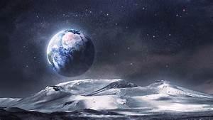 Alien Landscape Planet Stars Earth Moon Wallpaper ...