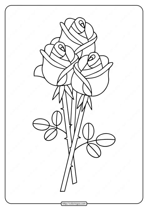 printable bunch  roses coloring pages