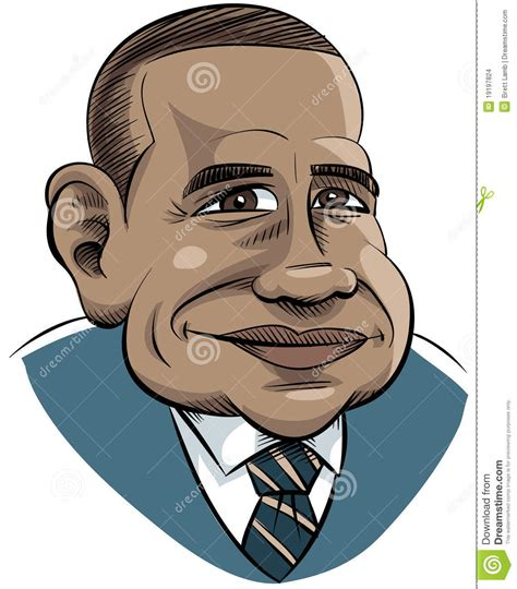 cartoon obama editorial stock image illustration  face