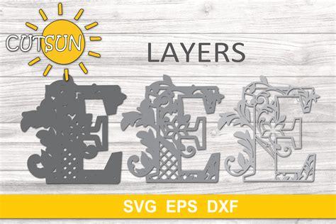 Free layered mandala alphabet svg. 3D Alphabet Layered Mandala E - 3 layers cut file (523172 ...
