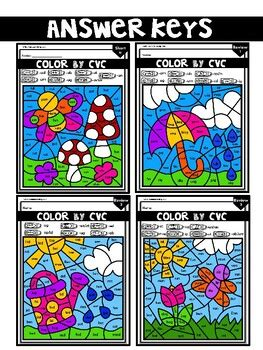 phonics worksheets cvc color  code spring theme prek
