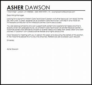 Cover Letter Medical Internship Patient Care Technician Cover Letter Sample Cover Letter