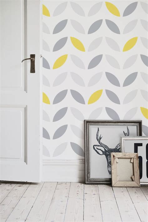 yellow  grey abstract flower pattern wallpaper