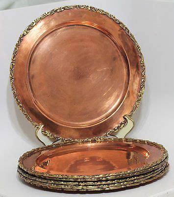 set   vintage solid copper charger plates applied