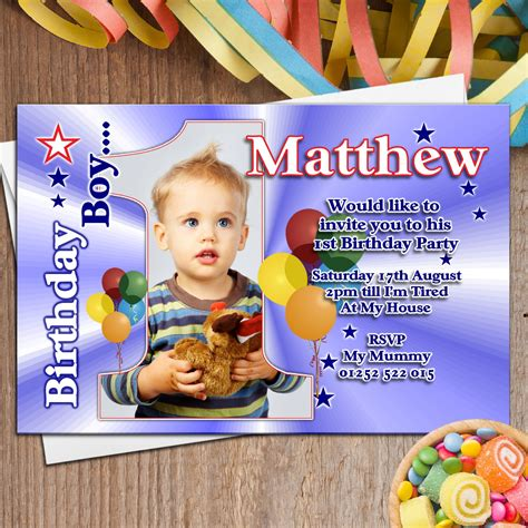 10 Personalised Boys First 1st Birthday Party PHOTO