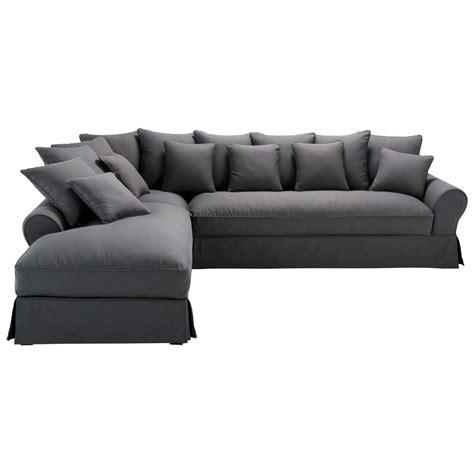 canapé 6 places angle canapé d 39 angle gauche 6 places en coton gris ardoise