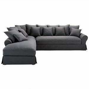 canape d39angle gauche 6 places en coton gris ardoise With canapé d angle maga meuble