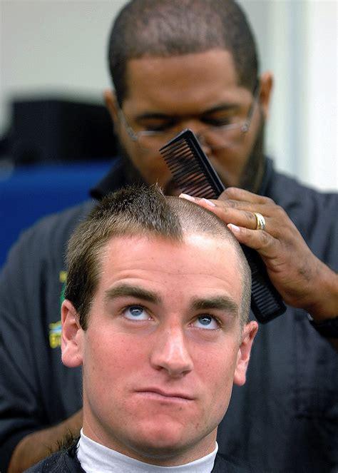number three haircut file us navy 090701 n 8395k 001 a plebe receives his 4821